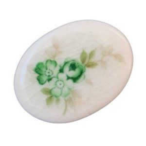 Vintage White Green Floral Cameo Ceramic Brooch